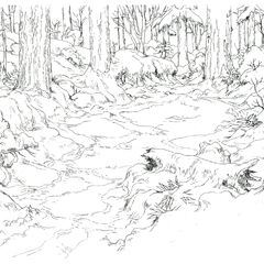 Concept art of the Beginner's Forest.