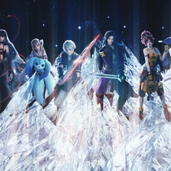 Nichol and the cast of <i>Final Fantasy Brave Exvius</i> in the <i>Touch It</i> music video.