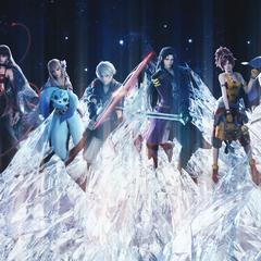 Fina e o elenco de <i>Final Fantasy Brave Exvius</i> no <i>Touch it</i> music video.
