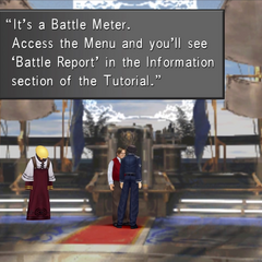 Cid gives Squall the Battle Meter.