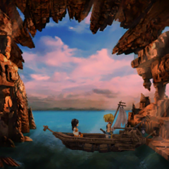 Zidane and Garnet in a boat in Madain Sari.