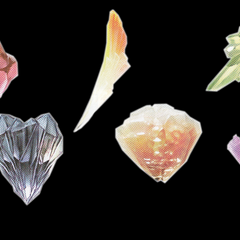 From left to right: Lightning's, Snow's, Sazh's, Vanille's, Hope's, and Fang's summon crystals in <i><a href=