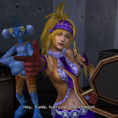 Rikku's Songstress dressphere in a cutscene.