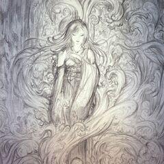 Arte conceitual de Yuna feita por Yoshitaka Amano.