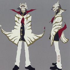 Arte conceitual de Machina como um l'Cie do <i>Tigre Branco</i>.