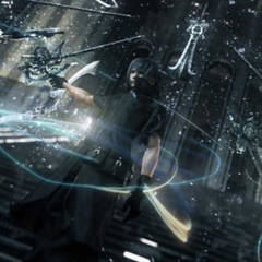 Noctis descends the stairs of the Citadel in a <i>Versus XIII</i> trailer.