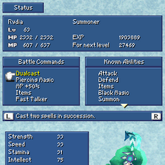Status menu in the DS version.