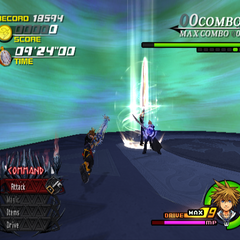 Leon using Blasting Zone in <i>Kingdom Hearts II</i>.