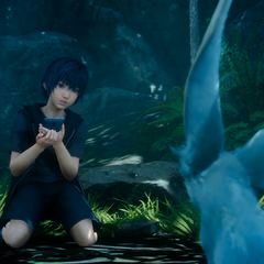 Noctis communicates with Carbuncle via a smartphone.