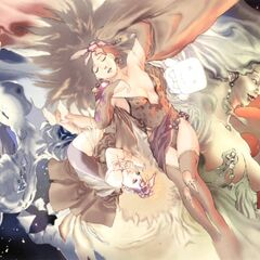 Artwork of Whyt surrounded by the beautiful women of <i>Final Fantasy IV</i> by Akira Oguro.