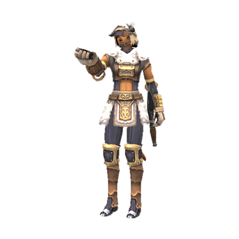 A Mithra Beastmaster in Artifact Armor.