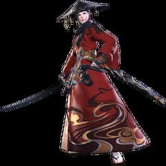 Samurai render for <i>Final Fantasy XIV: Stormblood</i>.
