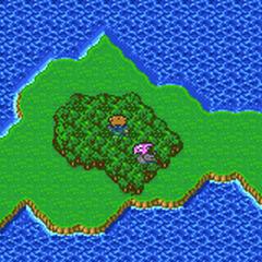 A Vila Fantasma no mapa do munso (GBA).
