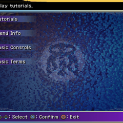 Tutorial menu.