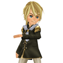 An avatar dressed in a male Trainee Uniform from the Square-Enix Members Virtual World.