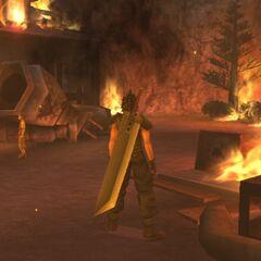 Torched Nibelheim in <i>Crisis Core -Final Fantasy VII-</i>.