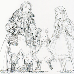 Sketch of Braev with Mazher and a younger Edea.