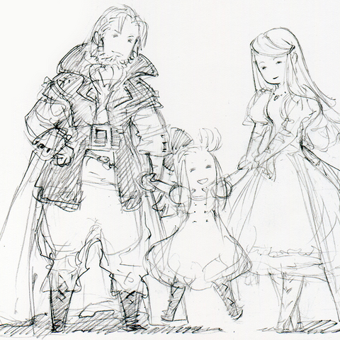 Sketch of Mazher with Braev and a younger Edea.