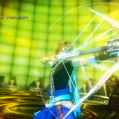 Noel using the Starseeker in a Cinematic Action sequence.