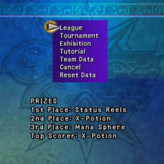 Blitzball menu in <i>Final Fantasy X</i>.