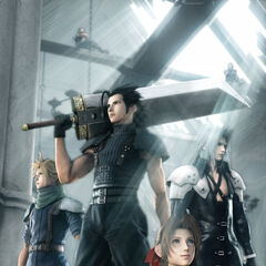 Promotional CG artwork of Zack, Aerith, Cloud, and Sephiroth. Angeal and Genesis can be seen above them.