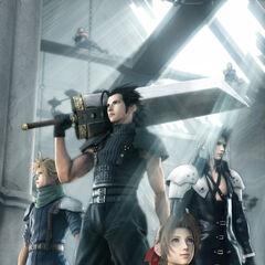 Рекламный CG рисунок Зака, Аэрис, Клауда и Сефирота.