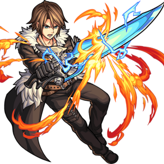 Squall brandishing the Lion Heart for <i>Monster Strike</i>.