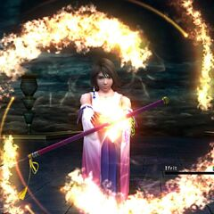Yuna summons Ifrit.