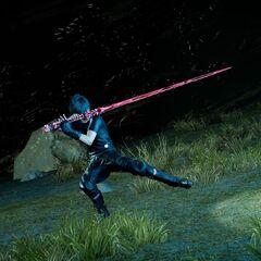 Ноктис с копией Клинка ракшасы в <i>Final Fantasy XV</i>.