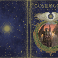 On the cover of the Cosmogony books, Bahamut gives a king a crystal.