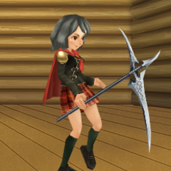 An avatar with Sice's scythe from the Square-Enix Members Virtual World.