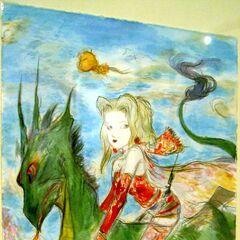 Рисунок Терры верхом на зеленом существе работы Ёситаки Амано.