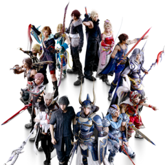 Firion alongside the other 14 main characters.