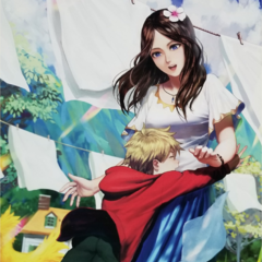 Artwork of young Rain and his mother, Sophia, from Fan Festa.