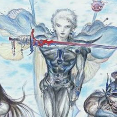 Detail of Firion from Yoshitaka Amano's <i>Final Fantasy II</i> protagonists' art.