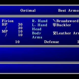 Equipment menu (PSP).