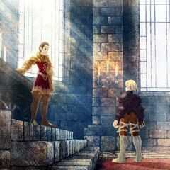 Artwork of Delita and Ramza from <i>Final Fantasy Tactics: The War of the Lions</i>.