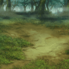 Ruined forest battle background in <i><a href=