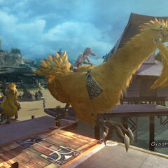 Serah and Noel riding chocobos on the beach.