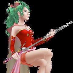 Первый альтернативный костюм Терры, изображающий ее с зелеными волосами и в платье другого цвета.