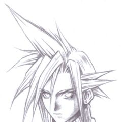 Uncolored sketch of Cloud's menu portrait.