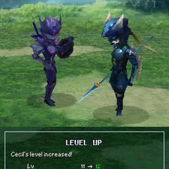 Pose de Cecil ao passar de nível como um Cavaleiro Sombrio (DS).