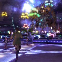 Sazh in Nautilus's amusement park.