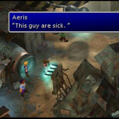 Aeris utters her famous grammatically incorrect line.