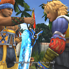 Wakka gives the Brotherhood to Tidus in <i>Final Fantasy X</i>.