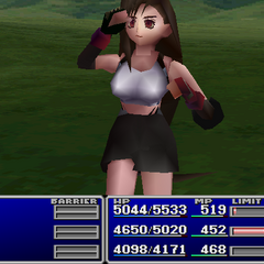 Tifa using an item on an ally.