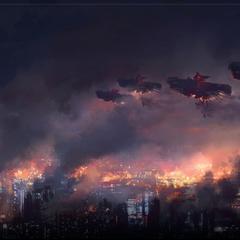Атака воздушных кораблей.