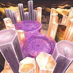 Concept art of the Crystal World in <i>Dissidia</i>.
