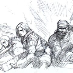 Concept art of the promo art featuring Laguna, Kiros, and Ward.