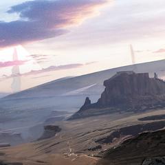Долина и каменные колонны.
